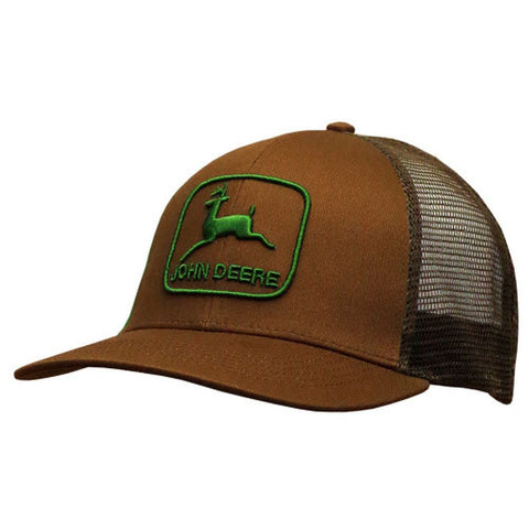 John Deere Retro Look Green Logo Brown Mesh Hat