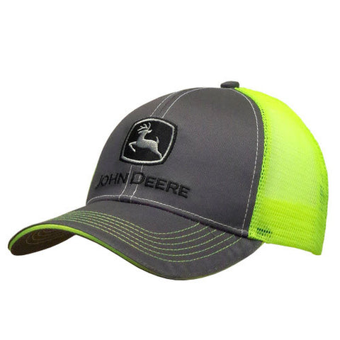 John Deere Gray Hat with Neon Back