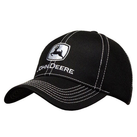 John Deere Diamond Mesh Contrast Stitch Black Hat