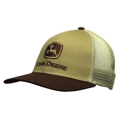 John Deere Old School Mesh Trucker Style Hat in Brown