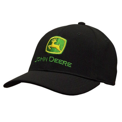 John Deere Black Stretch Fit Hat with Embroidered Logo - tractorup2