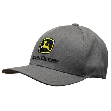 John Deere Gray Stretch Fit Hat with Embroidered Construction Logo - tractorup2