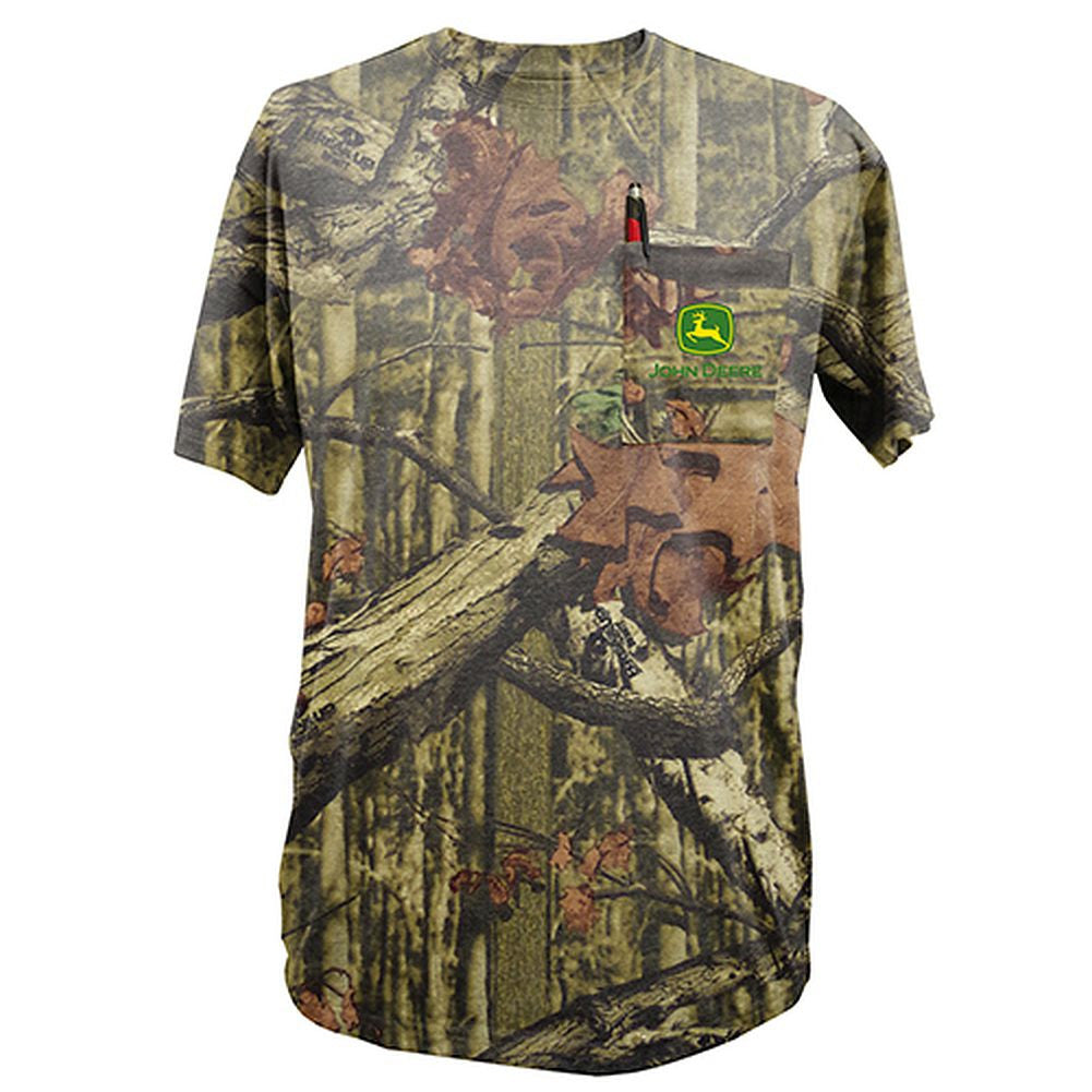 John Deere Short Sleeved Mossy Oak Pocket T-Shirt