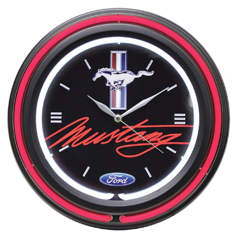 "Ford Double Neon 15"" Wall Clock, Ford Mustang"