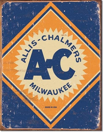 Allis Chalmers Vintage Logo Tin Sign - tractorup2