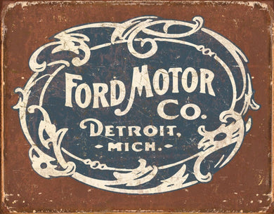 Ford Motor Co Historic Logo Distressed Retro Vintage Tin Sign - tractorup2