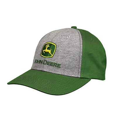 John Deere Green and Gray Solid Backed Hat with Embroidered Logo - tractorup2