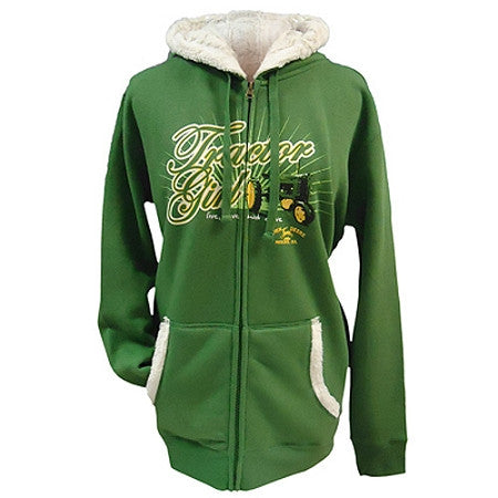 John Deere Tractor Girl Faux Fur Lined Green Zip Sweatshirt