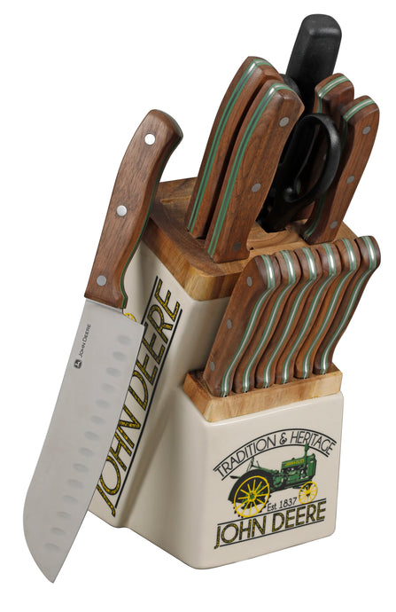 John Deere 14-Piece Cutlery Set with Decorated Ceramic Wood Block