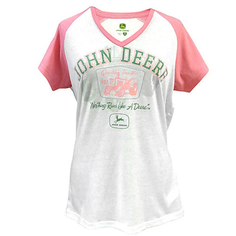 John Deere Quality Tractors Pink and White V-Neck T-Shirt