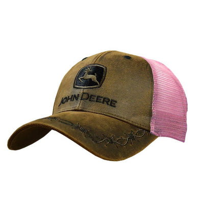 John Deere 6 Panel OilSkin Mesh Back Hat, Brown with Pink Mesh - tractorup2