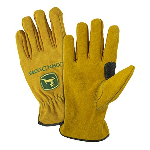 John Deere Premium Split Cowhide Leather Driver Work Gloves