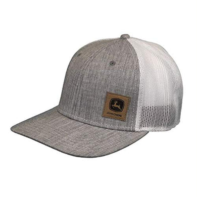 John Deere Twill Oxford Mesh Hat W/Sueded Patch, Gray - tractorup2