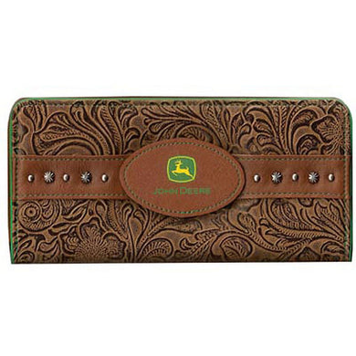 John Deere Women's Embossed Floral Clutch Wallet