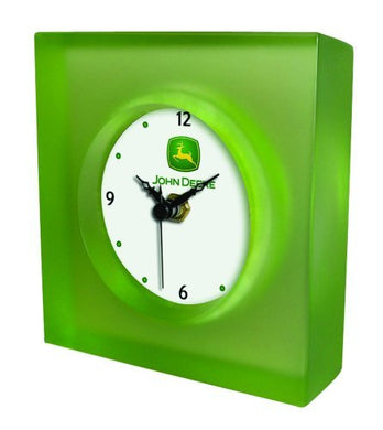 John Deere Translucent Desk Clock with Glass Face - Retro Design