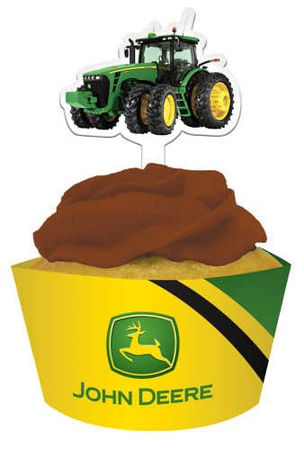 John Deere Cupcake Pick Decorations with Matching Baking Cup Wrappers, 12 Count - tractorup2