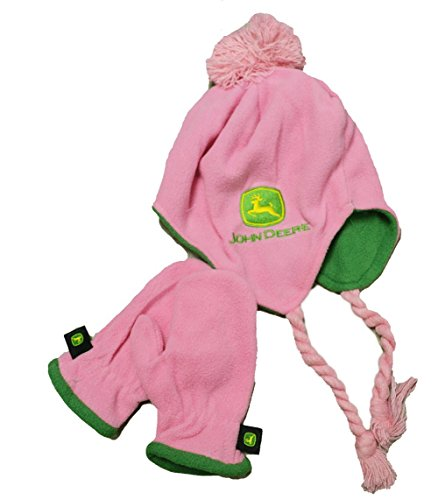 John Deere Toddler Pink Hat and Mittens Set