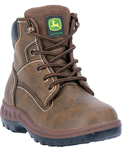 John Deere Boys' Leather Lace-Up Work Boot Distressed 6 D(M) US - tractorup2