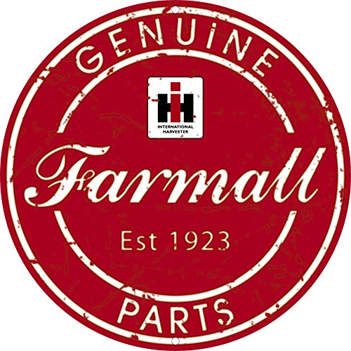 Farmall IH Genuine Parts Dealer Round Tin Sign, Red - tractorup2