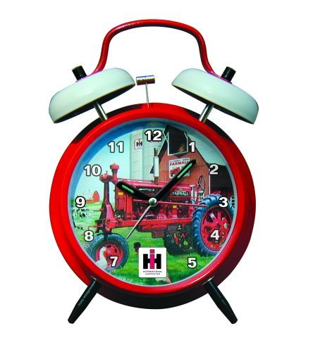 International Harvester McCormick Farmall Twin Bell Alarm Clock with Red Finish - tractorup2