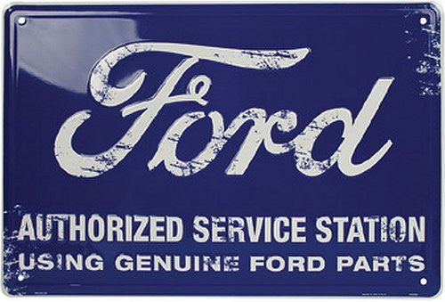 Ford Authorized Service Station Sign Tin Blue 12