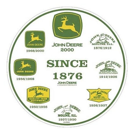 "John Deere ""History of Logos"" Round Metal Sign"