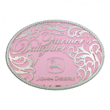 John Deere Farmers Daughter Pink Belt Buckle