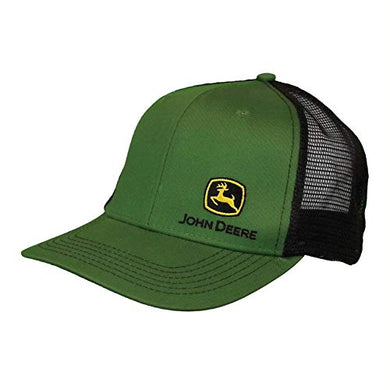 John Deere Mesh Backed Hat with Small Construction Logo, Green - tractorup2