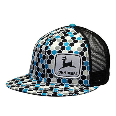 John Deere Brand Honeycomb Pattern Turquoise Adjustable Hat - tractorup2