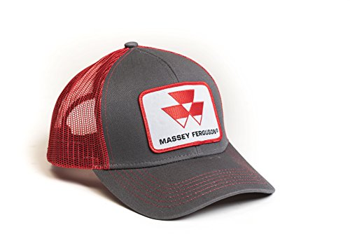 Massey Ferguson Tractor Hat, Gray with Red Mesh Back - tractorup2