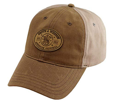 Smith & Wesson S&W Leather Patch Logo Oil Cloth Khaki Cap - Officially Licensed - tractorup2
