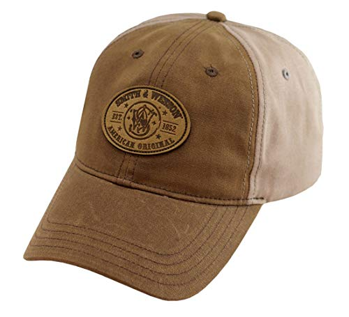 Smith & Wesson S&W Leather Patch Logo Oil Cloth Khaki Cap - Officially Licensed