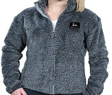 John Deere Unisex Full Zip High Loft Poly Sherpa w/Embroidered Logo, Grey - tractorup2