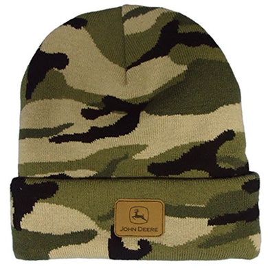 John Deere Leather Patch Camo Beanie - tractorup2