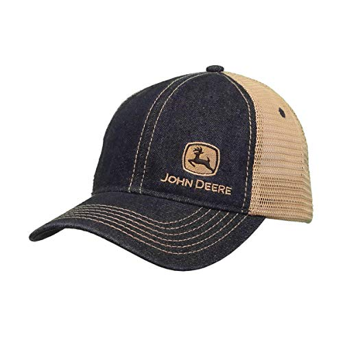 John Deere 6 Panel Denim Mesh Backed Hat, One Size - tractorup2