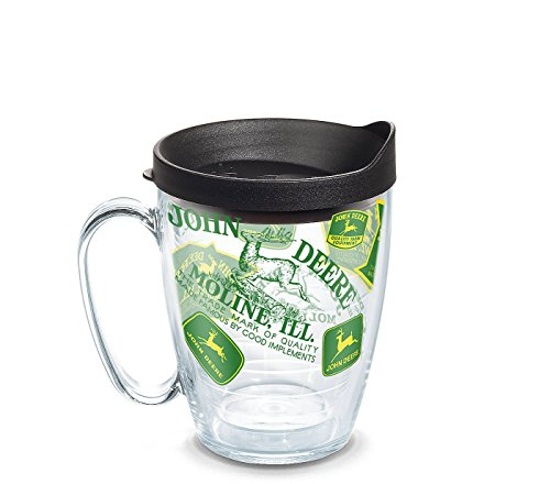 John Deere All-Over Wrap Coffee Mug with Trademarks and Lid 16 Oz - tractorup2