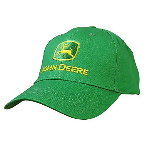 John Deere Men's Trademark Logo Core Baseball Cap, Green, Yellow Logo, One Size - tractorup2
