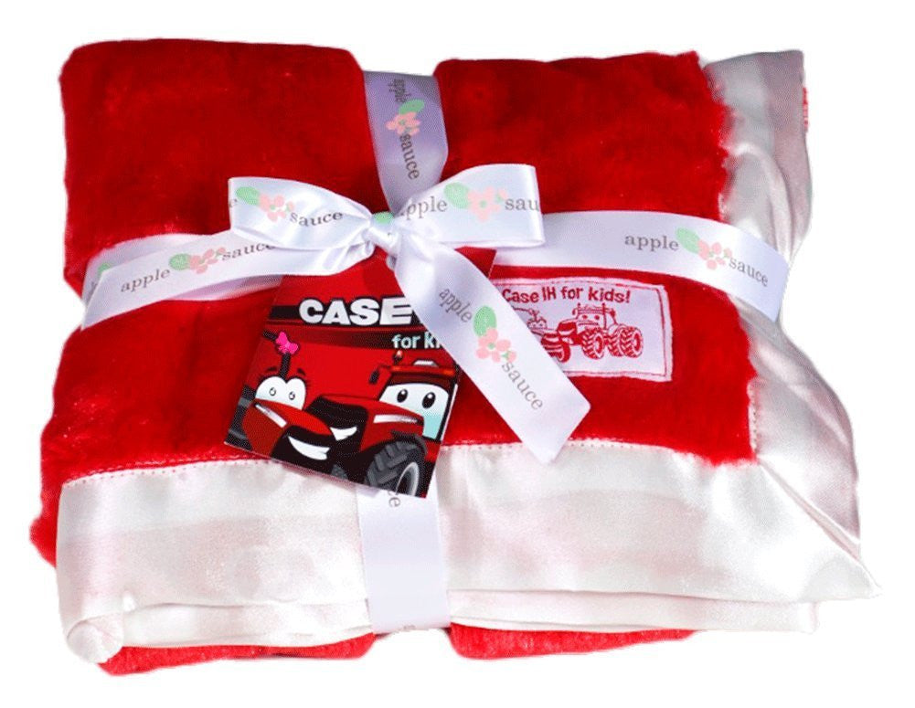 Case IH Soft Baby Blanket in Red and White - tractorup2