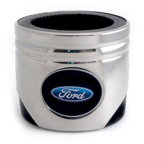 Motorhead Products Stainless Steel Piston Shaped Coozie, Ford Oval Logo