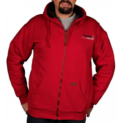 Case IH Men's Sherpa Lined Zip Front Hooded Sweatshirt in Red