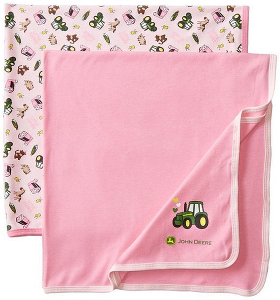 John Deere Baby Girls Newborn Pink Barn Toss Blanket 2 Piece Set