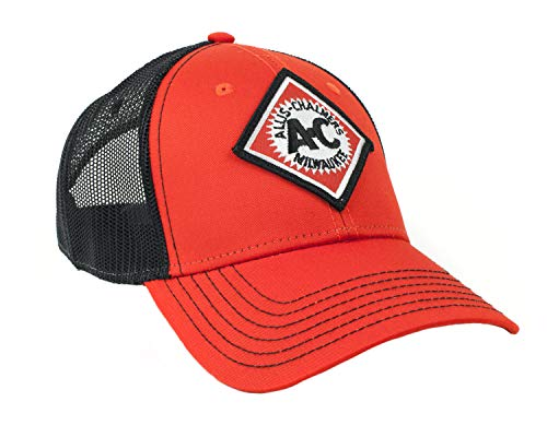 Allis Chalmers Tractor Hat, Orange and Black Mesh, Vintage Logo