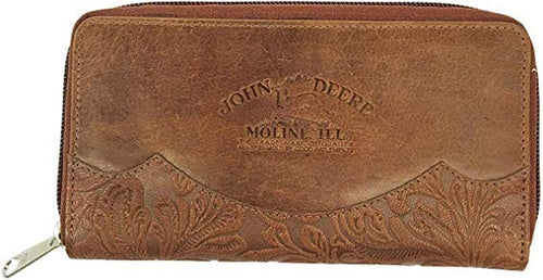 John Deere Ladies Brown Leather Vintage Style Wallet - tractorup2