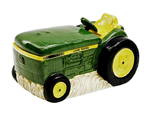 John Deere Gibson Classic Tractor Ceramic Cookie Jar - Green and Yellow