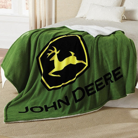 John Deere Logo Fleece Sherpa Green Blanket