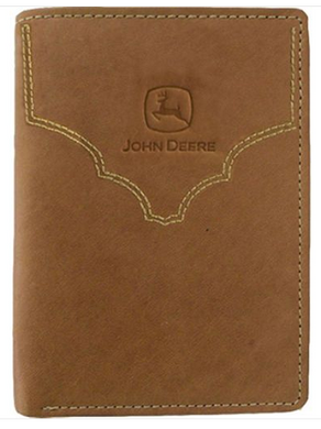 john deere brown trifold wallet