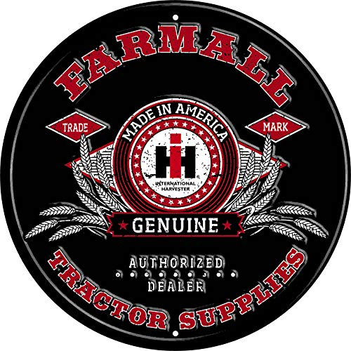 Farmall IH Tractor Supplies Round Tin Sign, Black - tractorup2