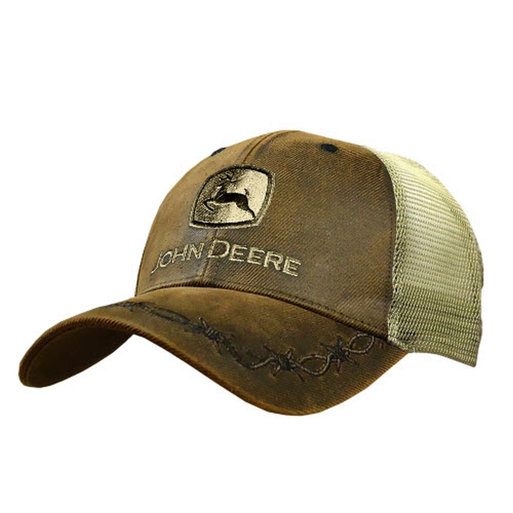 John Deere 6 Panel OilSkin Mesh Back Hat, Brown - tractorup2