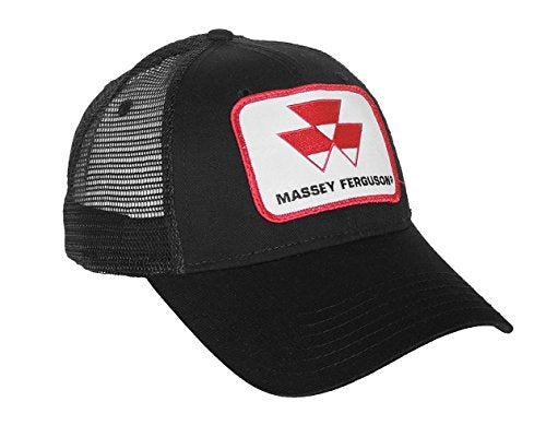 Black Massey Ferguson Tractor Logo Hat with Mesh Back - tractorup2