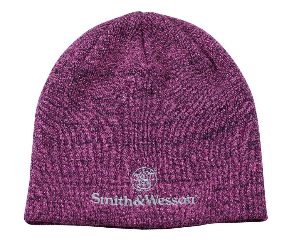 Smith and Wesson Ladies Logo Beanie Hat in Black and Pink